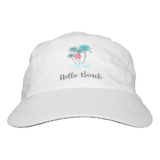 Hello Beach Tropical Summer Vacation White Hat