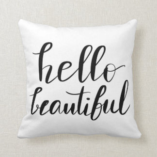 Hello Beautiful Calligraphy Handwritten Script Throw Pillow