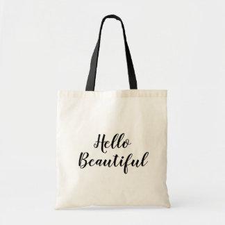 Hello beautiful custom hand lettering tote bag
