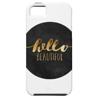 Hello Beautiful Gold Text Tough iPhone 5 Case