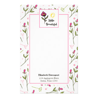 Hello Beautiful Pretty Pink Orange Wildlflower Stationery