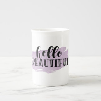Hello Beautiful Purple Bone China Mug
