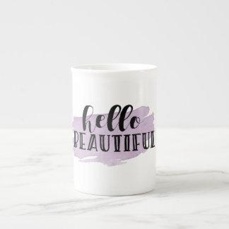 Hello Beautiful Purple Watercolor Mug