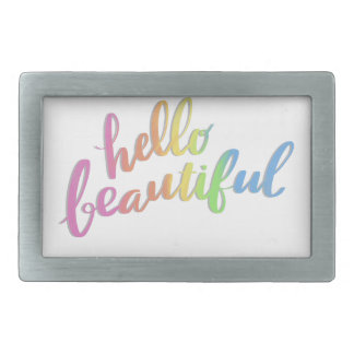 HELLO BEAUTIFUL RAINBOW CALLIGRAPHY BELT BUCKLES