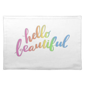 HELLO BEAUTIFUL RAINBOW CALLIGRAPHY PLACEMAT