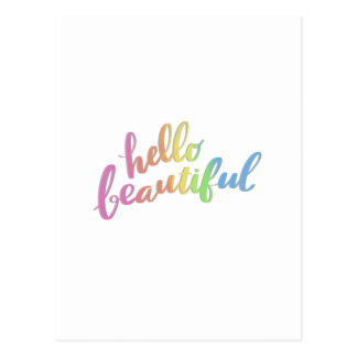 HELLO BEAUTIFUL RAINBOW CALLIGRAPHY POSTCARD