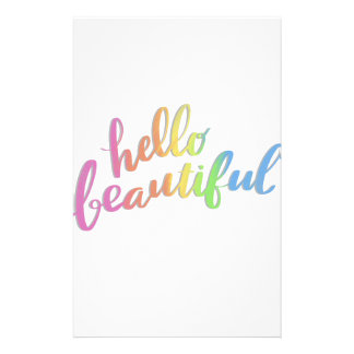 HELLO BEAUTIFUL RAINBOW CALLIGRAPHY STATIONERY
