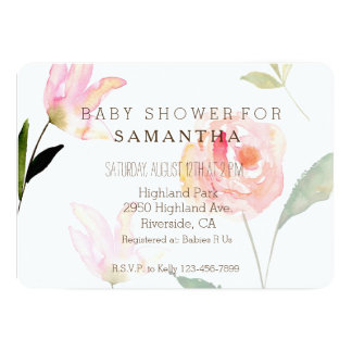 Hello Beautiful Watercolor Floral baby shower Card