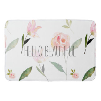 Hello Beautiful Watercolor Floral Bath Mat
