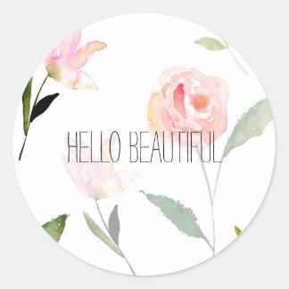 Hello Beautiful Watercolor Floral Classic Round Sticker