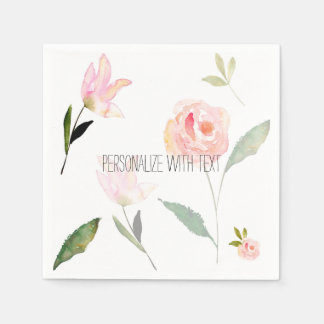 Hello Beautiful Watercolor Floral Paper Napkins