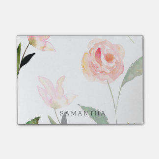 Hello Beautiful Watercolor Floral Post-it Notes