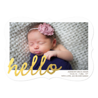 HELLO Birth Announcement // Faux Gold Foil