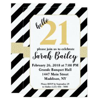 Hello Black and Gold Glitter Birthday Invite
