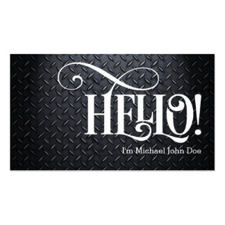 Hello! Black and White Faux Metal Business Card Business Card Template