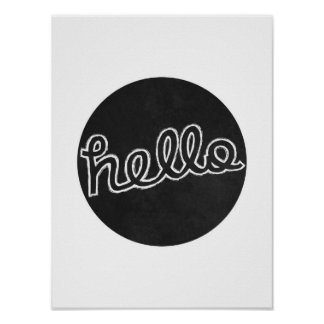 Hello - Black and White Poster