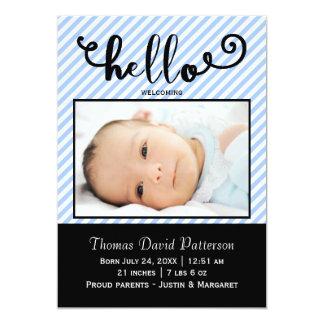 hello blue stripes photo - Birth Announcement