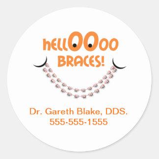 Hello Braces Tangerine Orthodontist Patient Custom Classic Round Sticker
