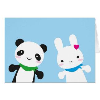 Hello Bunny and Panda Card