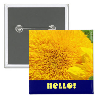 Hello button Blue Yellow Sunflower button