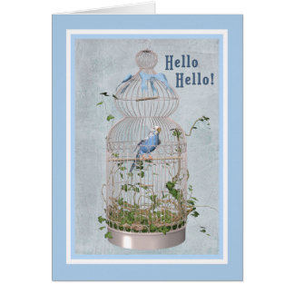 Hello Card with Cheerful Birdcage
