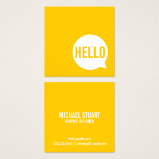 Hello | Casual Modern White & Yellow Speech Bubble Square Business Card