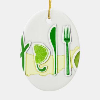 hello ceramic ornament