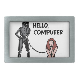 Hello, Computer Rectangular Belt Buckle