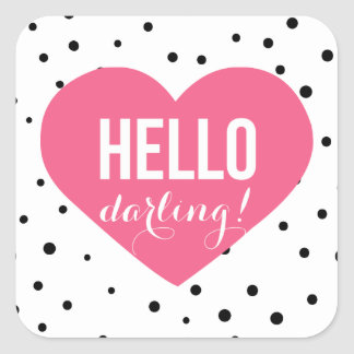 Hello Darling Heart | Polka Dots Sticker