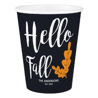 Hello Fall. Modern Thanksgiving. Paper Cup