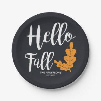 Hello Fall. Modern Thanksgiving. Paper Plate