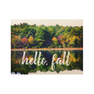 hello, fall Wood Poster