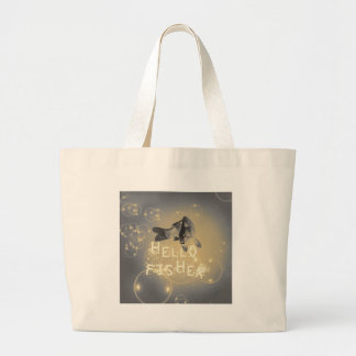 Hello fisher large tote bag