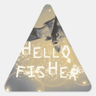Hello fisher triangle sticker