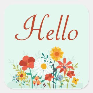 Hello Floral Mint Green Flowers Sticker / Seal