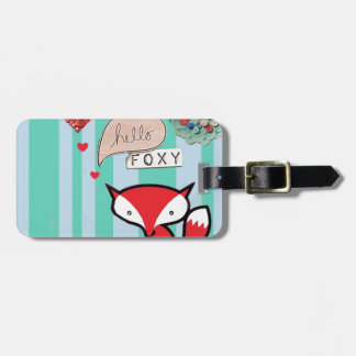 Hello Foxy Cute Fox with Vintage Buttons in Blue Luggage Tag