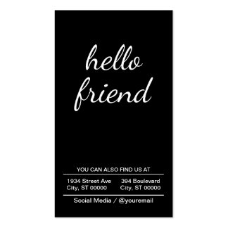 hello friend (black) pack of standard business cards