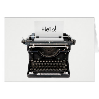 Hello Friendship Card With Typewriter Blank Inside