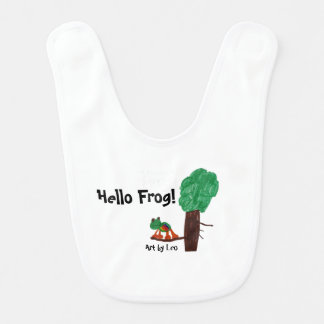 Hello Frog! Playful design on a baby's bib