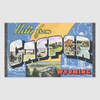 Hello From Casper Wyoming, Vintage Rectangle Stickers