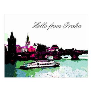 Hello from Praha txt Postcard
