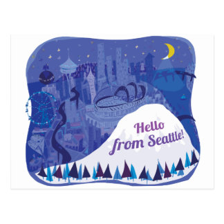 Hello from Seattle Postcard