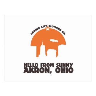 Hello From Sunny Akron Ohio` Postcard