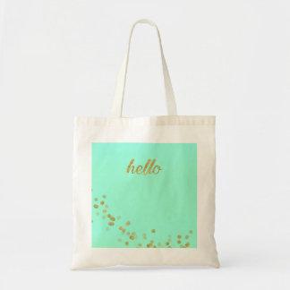 Hello Gold Confetti Pastel Green Tote Bag