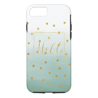 Hello Gold Mint Confetti Ombre iPhone 8/7 Case