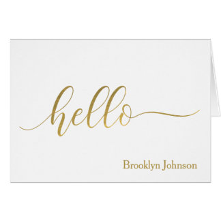 """""""Hello"""" Gold Typography Name Personalized Card"""
