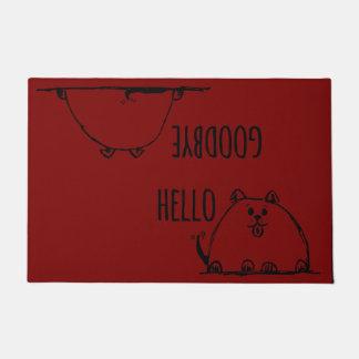 Hello Goodbye Cute Doodle Dog Doormat