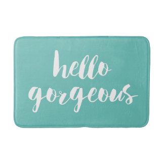 Hello Gorgeous | Aqua & White Typography Bath Mat