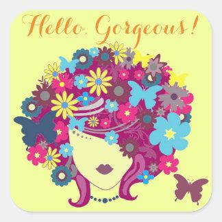 Hello, Gorgeous! Beautiful Flower Lady Square Sticker