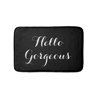 Hello gorgeous black and white typography bath mat bath mats